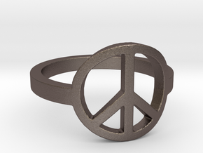 Peace Ring Size 5.5 in Polished Bronzed-Silver Steel: 5.5 / 50.25