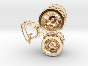 BajaRacer V1: Part 2 in set of 3 - Wheels in 14k Gold Plated Brass