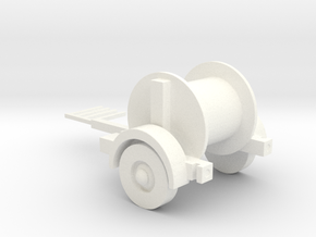 Telephone Pole Cable Trailer 1-87 HO Scale (Statio in White Processed Versatile Plastic