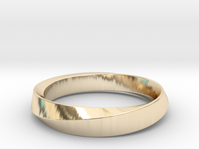 Mobius Narrow Ring (Size 5) in 14k Gold Plated Brass
