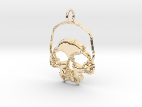 Skull Light Pendant in 14K Yellow Gold