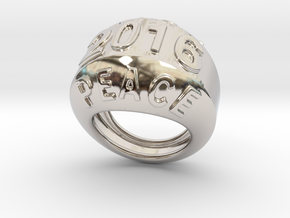 2016 Ring Of Peace 14 - Italian Size 14 in Rhodium Plated Brass