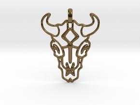 Animal Skull Pendant in Polished Bronze