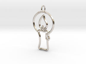 Christmas Candle Pendant in Rhodium Plated Brass