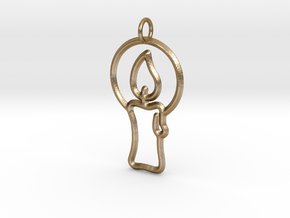 Christmas Candle Pendant in Polished Gold Steel