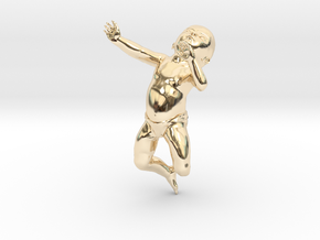 3D Crawling Baby in 14k Gold Plated Brass