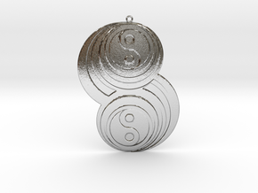 Pendant crop circles in Polished Silver