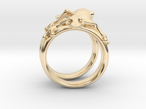 Gekko Ring in 14k Gold Plated Brass