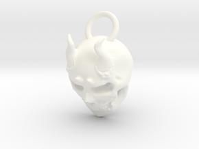 Horny Skull in White Processed Versatile Plastic