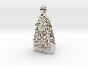 Bones Pendant in Rhodium Plated Brass