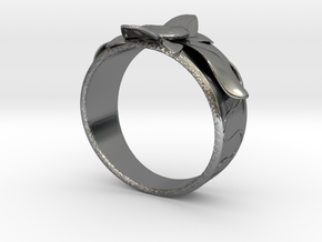 Flower Ring no.10 in Fine Detail Polished Silver