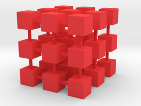 Cubes among cube in Red Processed Versatile Plastic