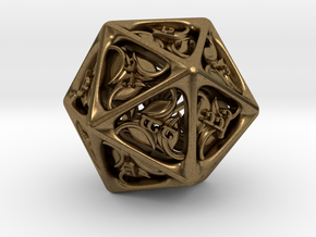 Tengwar Elvish D20 in Natural Bronze: Small