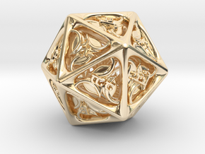 Tengwar Elvish D20 in 14k Gold Plated Brass: Small