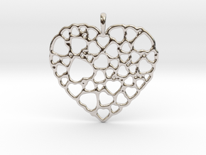 Heart of Hearts Pendant in Rhodium Plated Brass
