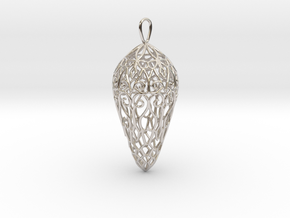Small Lace Teardrop Ornament in Rhodium Plated Brass