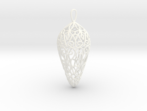 Small Lace Teardrop Ornament in White Strong & Flexible Polished
