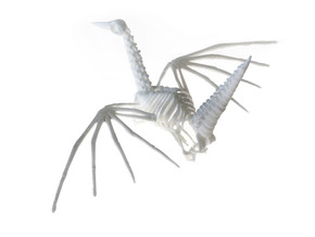 Origami Crane Skeleton in White Natural Versatile Plastic