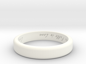 Engraved Standard Sized ring in White Processed Versatile Plastic