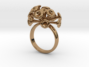 Discosphaera Ring  in Polished Brass