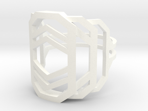 Art Deco Ring - Layers Of Life  - US Size 10 in White Processed Versatile Plastic