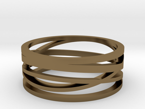 Abstract Lines Ring - US Size 11 in Polished Bronze
