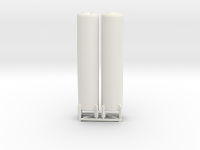 N Scale 2x Vertical Tank ø12-55 in White Natural Versatile Plastic