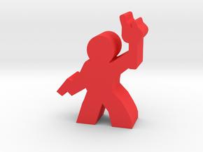 Game Piece, Guy Adventurer, with gun, torch in Red Processed Versatile Plastic