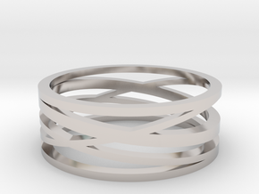 Abstract Lines Ring - US Size 12 in Platinum