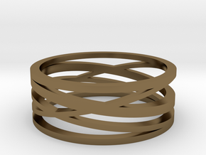 Abstract Lines Ring - US Size 12 in Polished Bronze