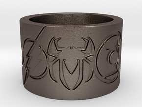 Superheros Engraved Ring in Polished Bronzed Silver Steel: 7.5 / 55.5