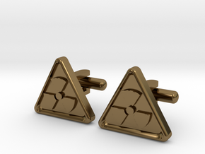 RADIOACTIVE SIGN CUFFLINKS in Polished Bronze