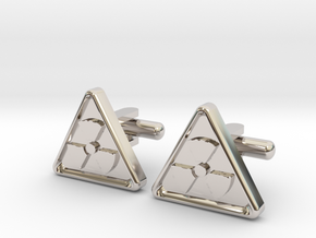 RADIOACTIVE SIGN CUFFLINKS in Rhodium Plated Brass