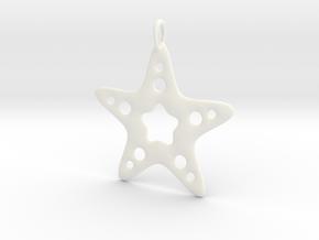 Starfish Pendant in White Processed Versatile Plastic