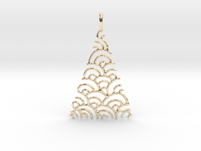 Christmas Tree Pendant Style 2 in 14k Gold Plated Brass