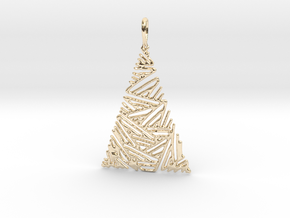 Christmas Tree Pendant 3 in 14k Gold Plated Brass