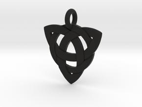Celtic Knot Necklace Pendant (Inverted Triquetra) in Black Natural Versatile Plastic