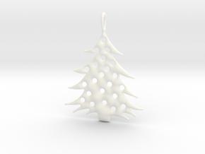 Christmas Tree Pendant 5 in White Processed Versatile Plastic
