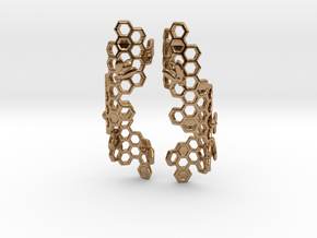 Bees and Honeycomb Earrings in Polished Brass