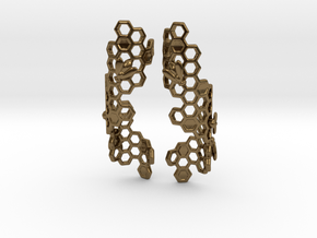 Bees and Honeycomb Earrings in Polished Bronze