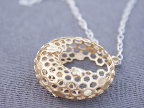Bee and honeycomb - Pendant in Natural Silver