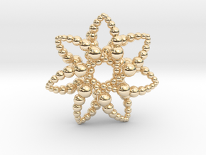 Bubble Star 7 Points - 4cm in 14k Gold Plated Brass