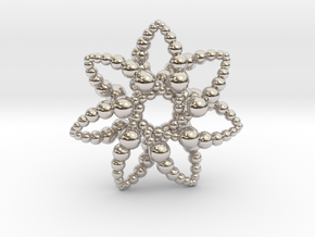 Bubble Star 7 Points - 4cm in Rhodium Plated Brass