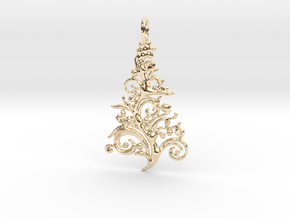Christmas Tree Pendant 6 in 14k Gold Plated Brass