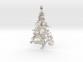 Christmas Tree Pendant 6 in Rhodium Plated Brass