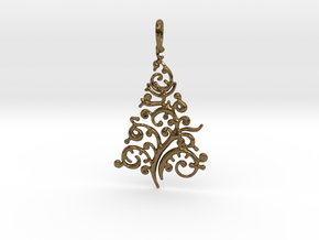 Christmas Tree Pendant 8 in Polished Bronze
