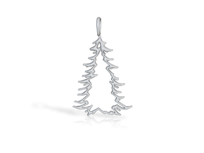 Christmas Tree Pendant 10 in Polished Gold Steel