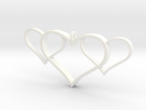 3 Heart Pendant in White Processed Versatile Plastic