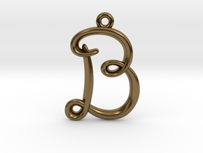 B Initial Charm in Polished Bronze