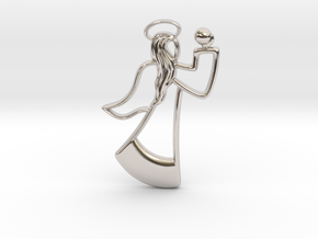 Angel Pendant in Rhodium Plated Brass